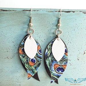 Triple Layered Handmade Leaf Earrings
